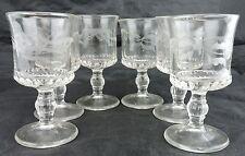 VINTAGE PRESSED GLASS GOBLET SET 6 VODKA LIQUOR STEMWARE LEAF GARLAND ETCHED