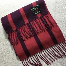 CHARLES TYRWHITT MENS WOVEN 100% CASHMERE PURPLE PINK SOFT LUXURY STRIPED SCARF