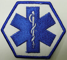 EMT BLUE WHITE COLOR PATCH EMERGENCY MEDICAL TECHNICIAN CADUCEUS