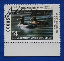 U.S.  (NH10Gs) 1992 New Hampshire Gov. Ed. Duck Stamp (MNH) Signed by Governor