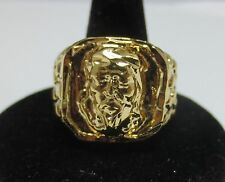 SIZE 8 SQUARED OFF RELIGIOUS LARGE JESUS FACE NUGGET BLING RING