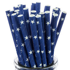 White Star On Blue Paper Straws x25 retro cakepop sticks vintage drinking