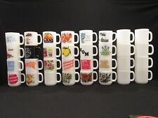 Lot 32 Asst Glasbake Federal Coffee Mugs Cups Milk Glass Texas Flowers Superstar