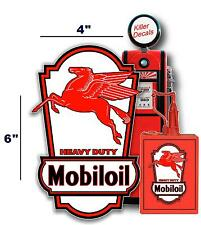 "(MOBI-LUB-3) 6"" MOBIL PEGASUS OIL CAN LUBSTER PROJECT DECAL GAS PUMP"