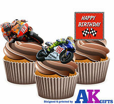 Happy Birthday Moto GP Mix 12 EDIBLE CUP CAKE TOPPERS STAND UPS Motorbikes