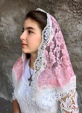 Pale - Pink ivory veils and mantilla Catholic church chapel scarf lace latin Med