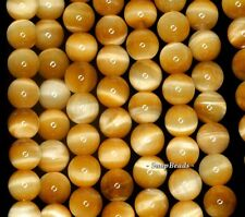 8MM GOLD TIGER EYE GEMSTONE GRADE AAA GOLD YELLOW ROUND 8MM LOOSE BEADS 7.5""