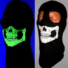 ADULT SKULL SKI MASK MW2 Ghost BALACLAVA FULL Face HOOD 2 HOLE GLOW IN THE DARK