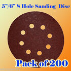 "200 Pcs 5""/ 6"" 8 Hole Sanding Disc Sandpaper Velcro Hook & Loop 60 120 240 Grit"