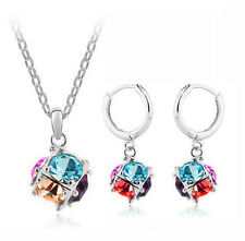 Stylish Colourful Magic Balls Jewellery Set Drop Earrings & Necklace S314