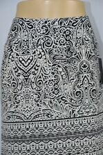 Ab Studio Womens Small Black White Paisley Print Long NEW Maxi Skirt Side Slit