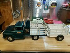 Vintage Tonka Farms stake truck with trailer 1950s toy