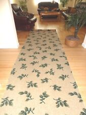 "AREA RUG RUNNER CARPET REMNANT PIECE, BEIGE WITH GREEN LEAVES, NEW, 3'4"" x 11'9"""