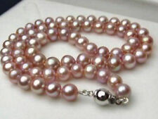 """7-8MM Genuine Natural Lavender akoya cultured pearl necklace 18"""""""