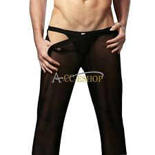 Sexy Men Mesh Transparent Pants Underwear Long Johns Gauze Home Wear Trouser L