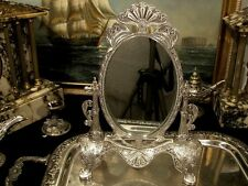 Vintage Silver Pedestal Swivel Vanity Mirror Makeup  Dressing Table  Gift