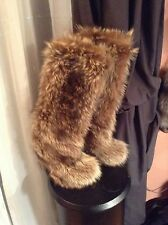 GORGEOUSE SILVER  FOX  NATURAL FUR   WOMEN BOOTS