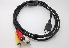 3 RCA Male to USB 2.0 Male A Composite Adapter Audio Video AV HDD DVR  Cable_sx