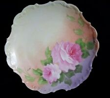 Lovely Hand Painted Limoges Flambeau Roses Charger Plate Early 1900 Artist Sgnd