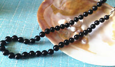 "8mm AAA Black South Sea Shell Pearl Beads Necklace 18"" LL002"