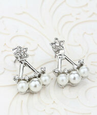 Women's Stud Earrings Star Gem Silver Filled Double White Faux Freshwater Pearl