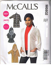 Easy Stretch Knit Cardigan Sweater Hood McCalls Sewing Pattern Size 18 20 22 24