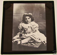Glass Magic lantern slide A YOUNG GIRL SITTING ON A CHESS BOARD C1910