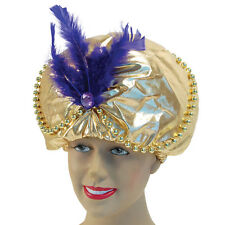 #ARABIAN GENIE HAT WITH BEADS JEWELS FAIRY TALE ALADDIN FANCY DRESS ACCESSORY
