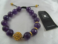 NWT DESIGNER NATE & ETAN PURPLE QUARTZITE & YELLOW CRYSTAL BEADED BRACELET