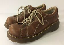 Doc Martens Brown Leather Oxford Shoes with Flowers 12283 Women's US 9 EU 41