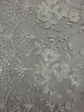 White Detailed Lace Sequins Fabric Scalloped Edges Fabric Sold By The Yard