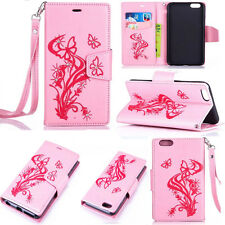 Bling Butterfly Leather Flip Credit Card Slot Stand Cover Case Wallet For Phones