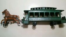CAST IRON Broadway Line 1920's Trolley Car and Horse.  Reproduction New