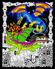 Dueling Dragons - Large 16x20 Inch Fuzzy Velvet Coloring Poster