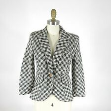 8 - SMYTHE Black & White Plaid Tweed Leather Elbow Patch Blazer Jacket 0425AC