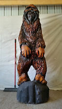 Lifesize SASQUATCH Bigfoot OVER 7' TALL Hand Carved ONE OF A KIND wood Statue