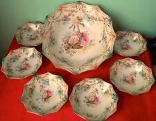 """RS Prussia Antique 10"""" Centerpiece and 12 Small Berry Bowls Set 1870-1917"""