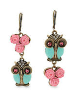 BETSEY JOHNSON OWL AND ROSE MISMATCH EARRINGS - NWT - LEVERBACKS FREE GUESS RING