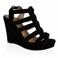 NEW WOMENS LADIES STRAPPY ELASTIC HIGH HEELS WEDGES PLATFORM SHOES