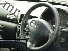 FOR PEUGEOT 607 BLACK REAL TOP LEATHER STEERING WHEEL COVER GREEN STITCH 00-05