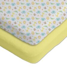 Gerber® 2 Pack­ Cotton Knit Fitted Crib Sheets Yellow/White Safari Design