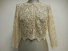 Gina Bacconi top lace bolero jacket wedding formal cover up 3/4 sleeve 38 UK10