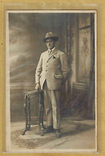 Carte Photo vintage card RPPC Lyon homme costume chapeau borsalino pz0206