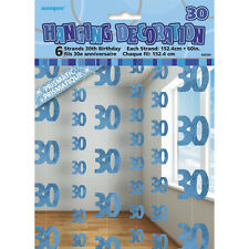 6 Happy 30th Birthday Blue Sparkle Prismatic 5ft String Party Decorations