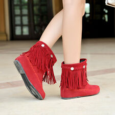 Plus size womens flat heel round toe ankle boots winter snow boots fringe shoes