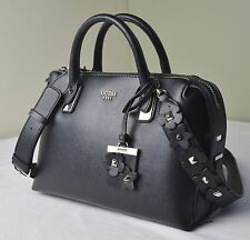 Guess Black Liya Satchel Floral Applique Strap