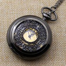 Black Quartz Floral Flower Pocket Watch Necklace Pendant Mens Womens Gift P240