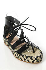 Loeffler Randall Black Leather Lace Up Iggy Espadrille Sandals Size 8 B