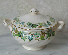 VTG COVERED SUGAR BOWL Johnson Bros Old Chelsea Ivy Leaf Pattern  1940s
