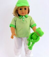 "Fits 18"" American Girl Boy Doll Clothes Sports Outfit Pants Golf Shirt Hat Frog"